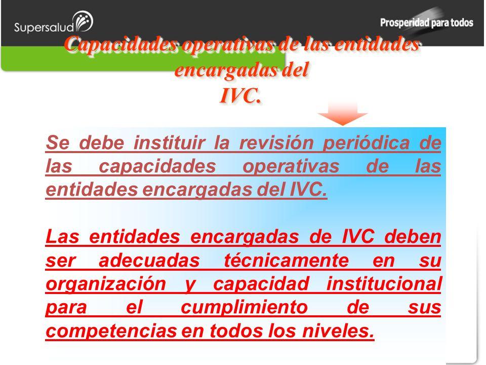 Capacidades operativas de las entidades encargadas del IVC. Se debe instituir la revisión periódica de las capacidades operativas de las entidades enc