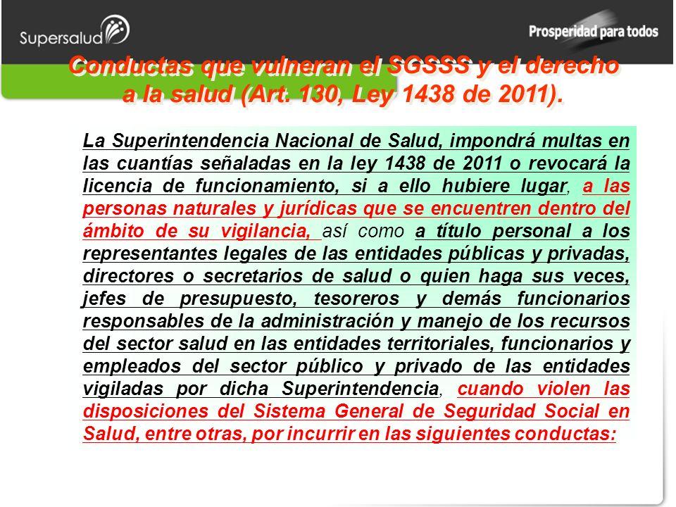 Conductas que vulneran el SGSSS y el derecho a la salud (Art. 130, Ley 1438 de 2011). La Superintendencia Nacional de Salud, impondrá multas en las cu