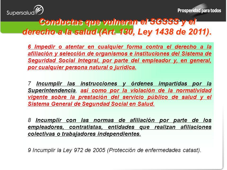 Conductas que vulneran el SGSSS y el derecho a la salud (Art. 130, Ley 1438 de 2011). 6 Impedir o atentar en cualquier forma contra el derecho a la af
