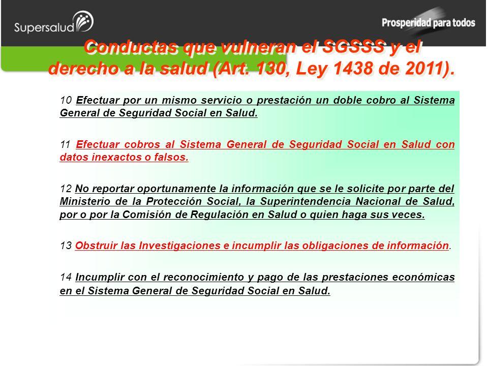 Conductas que vulneran el SGSSS y el derecho a la salud (Art. 130, Ley 1438 de 2011). 10 Efectuar por un mismo servicio o prestación un doble cobro al