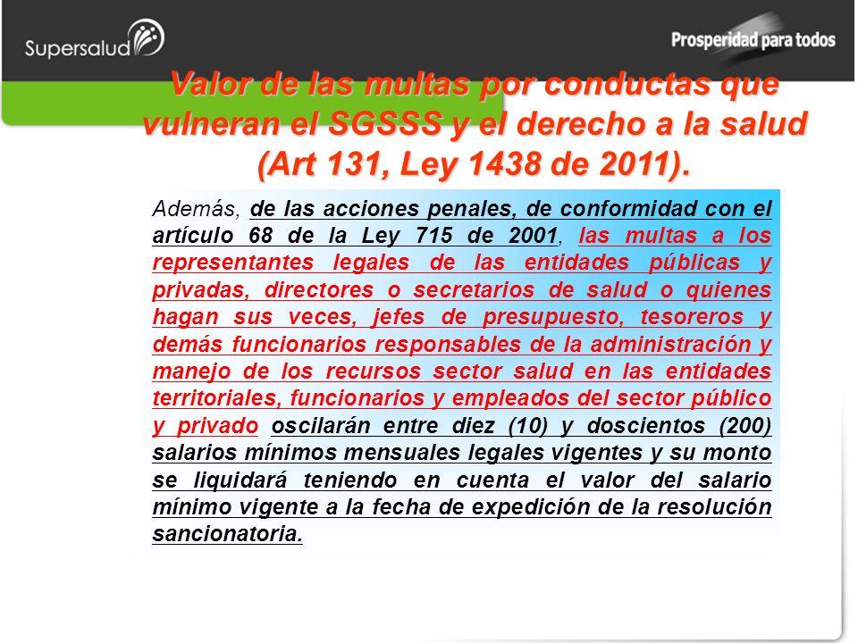 Valor de las multas por conductas que vulneran el SGSSS y el derecho a la salud (Art 131, Ley 1438 de 2011). Además, de las acciones penales, de confo