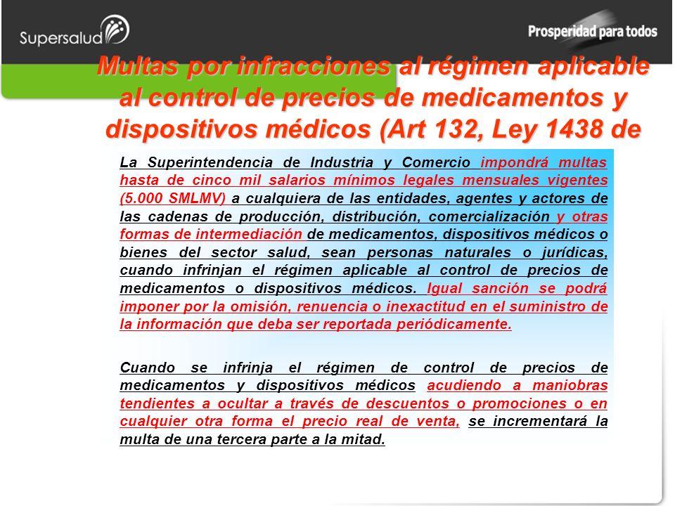 Multas por infracciones al régimen aplicable al control de precios de medicamentos y dispositivos médicos (Art 132, Ley 1438 de 2011). La Superintende
