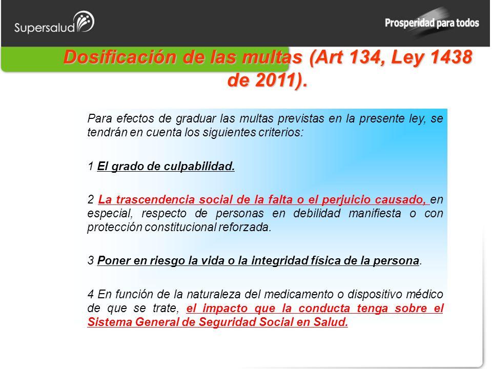 Dosificación de las multas (Art 134, Ley 1438 de 2011). Para efectos de graduar las multas previstas en la presente ley, se tendrán en cuenta los sigu