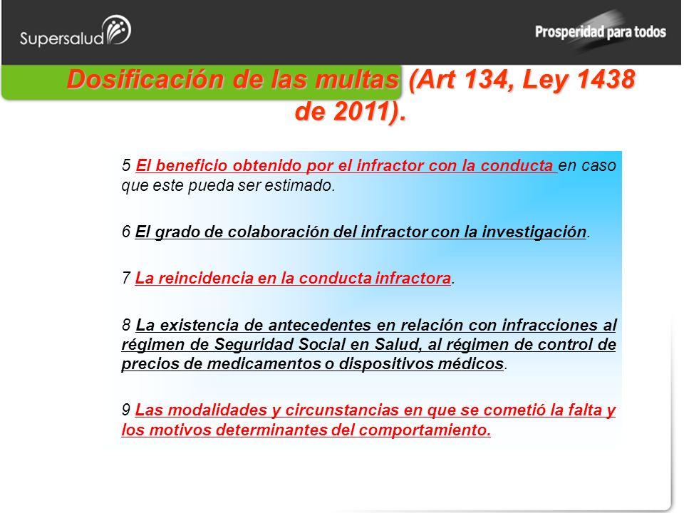 Dosificación de las multas (Art 134, Ley 1438 de 2011). 5 El beneficio obtenido por el infractor con la conducta en caso que este pueda ser estimado.