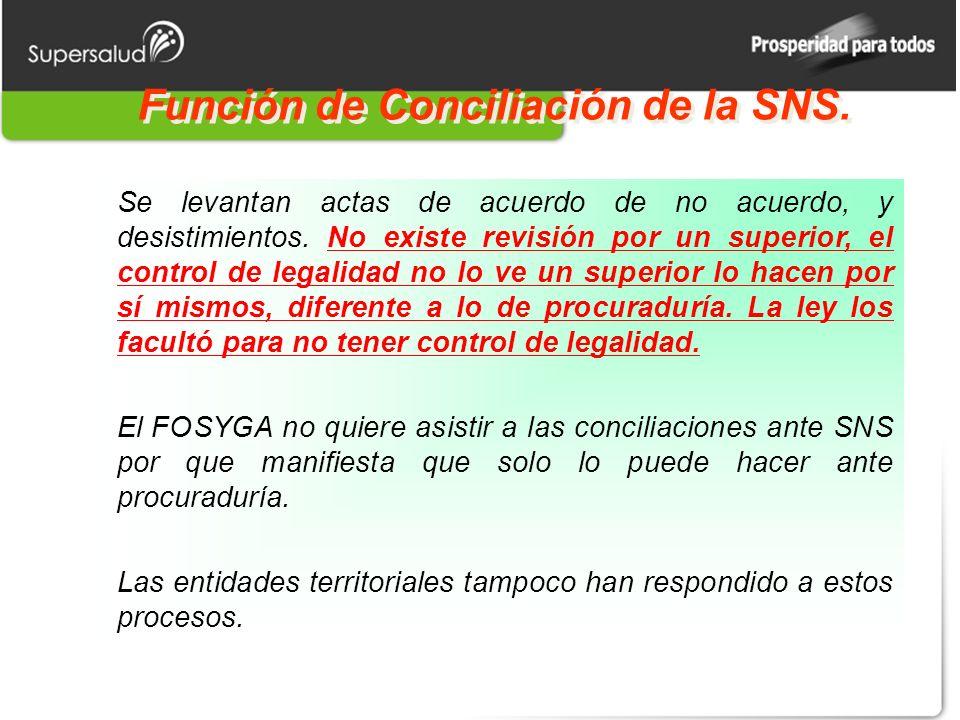 Función de Conciliación de la SNS. Se levantan actas de acuerdo de no acuerdo, y desistimientos. No existe revisión por un superior, el control de leg