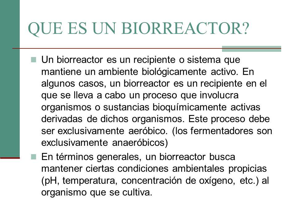 QUE ES UN BIORREACTOR? Un biorreactor es un recipiente o sistema que mantiene un ambiente biológicamente activo. En algunos casos, un biorreactor es u