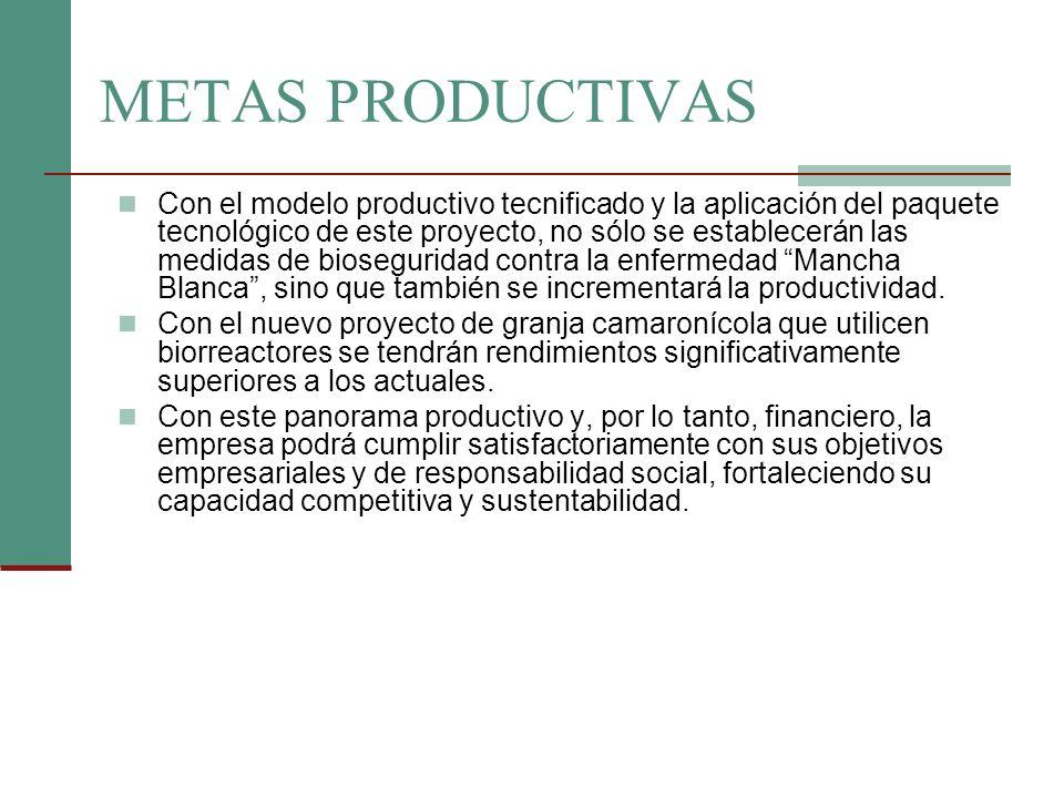 METAS PRODUCTIVAS Con el modelo productivo tecnificado y la aplicación del paquete tecnológico de este proyecto, no sólo se establecerán las medidas d