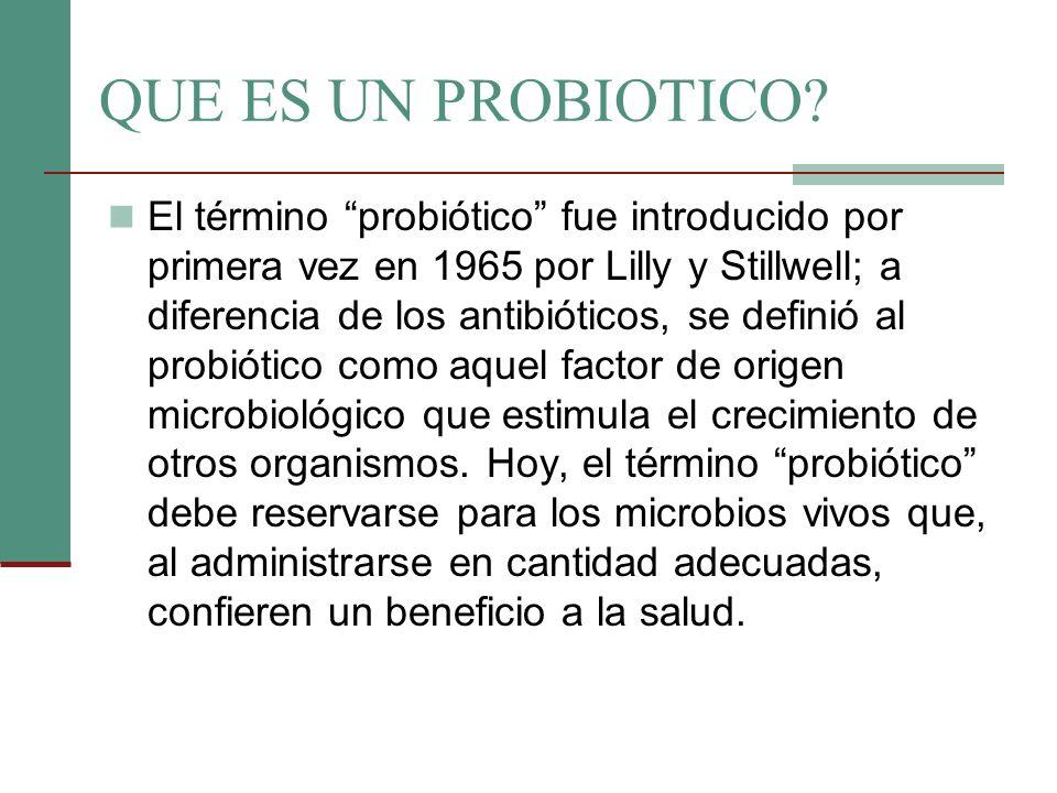 QUE ES UN PROBIOTICO? El término probiótico fue introducido por primera vez en 1965 por Lilly y Stillwell; a diferencia de los antibióticos, se defini
