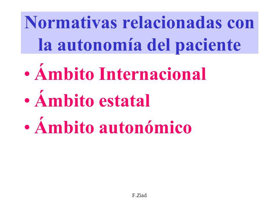 F.Ziad Normativas relacionadas con la autonomía del paciente Ámbito Internacional Ámbito estatal Ámbito autonómico