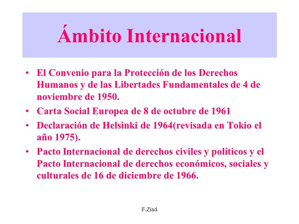 F.Ziad Ámbito Internacional El Convenio para la Protección de los Derechos Humanos y de las Libertades Fundamentales de 4 de noviembre de 1950. Carta