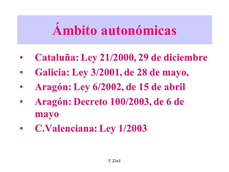 F.Ziad Ámbito autonómicas Cataluña: Ley 21/2000, 29 de diciembre Galicia: Ley 3/2001, de 28 de mayo, Aragón: Ley 6/2002, de 15 de abril Aragón: Decret