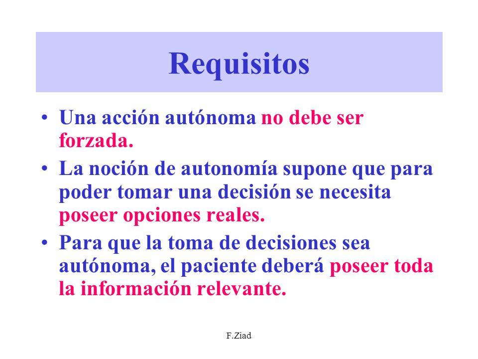 F.Ziad Requisitos Una acción autónoma no debe ser forzada. La noción de autonomía supone que para poder tomar una decisión se necesita poseer opciones