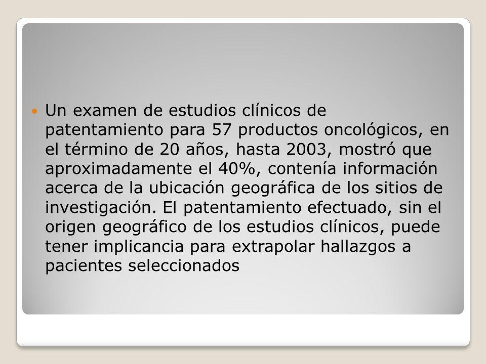 Un examen de estudios clínicos de patentamiento para 57 productos oncológicos, en el término de 20 años, hasta 2003, mostró que aproximadamente el 40%