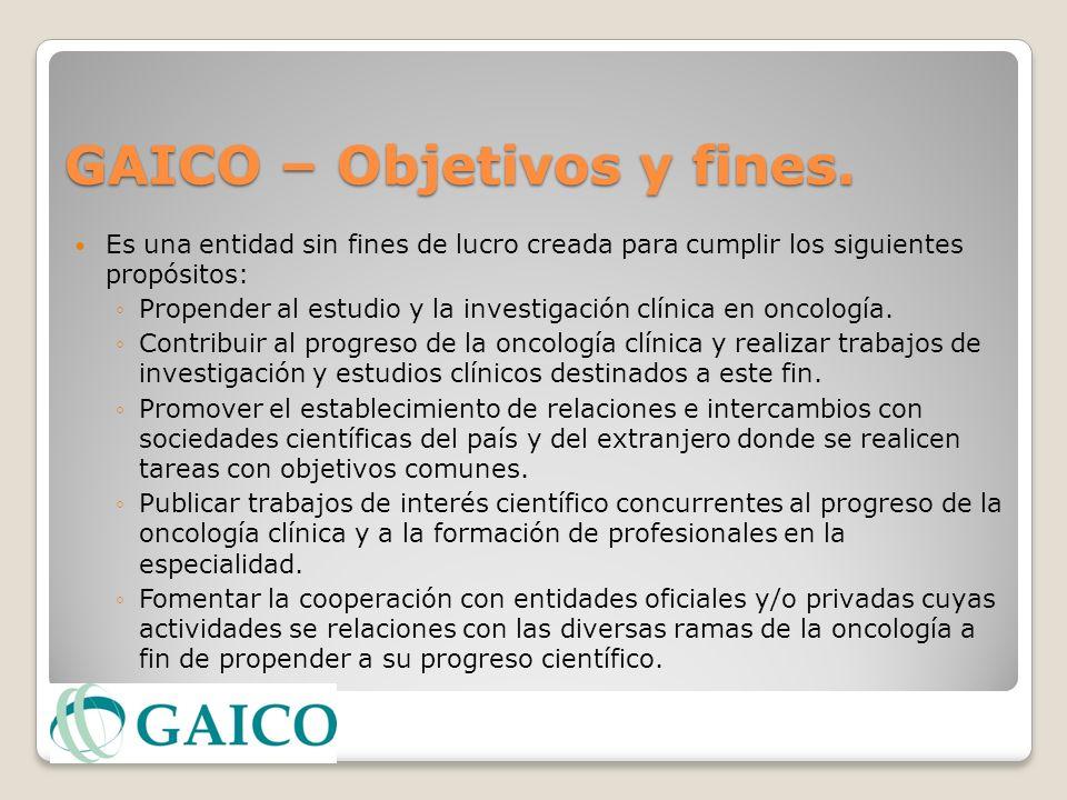 GAICO – Objetivos y fines. Es una entidad sin fines de lucro creada para cumplir los siguientes propósitos: Propender al estudio y la investigación cl