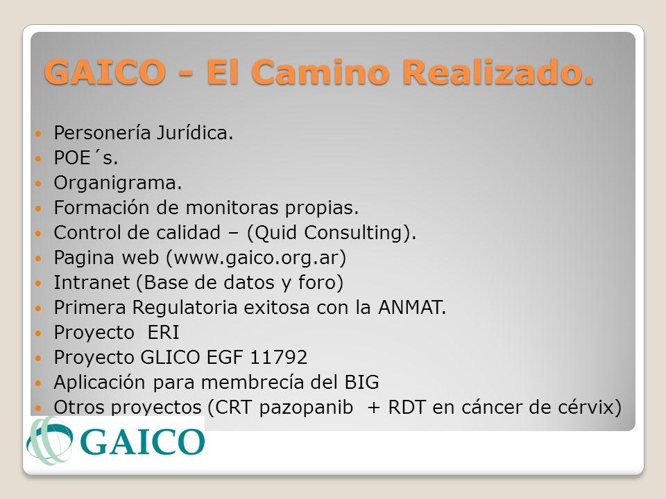GAICO - El Camino Realizado. Personería Jurídica. POE´s. Organigrama. Formación de monitoras propias. Control de calidad – (Quid Consulting). Pagina w