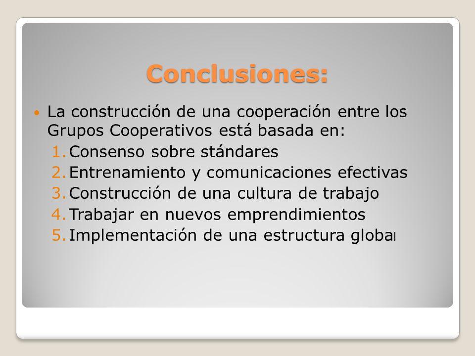 Conclusiones: La construcción de una cooperación entre los Grupos Cooperativos está basada en: 1.Consenso sobre stándares 2.Entrenamiento y comunicaci