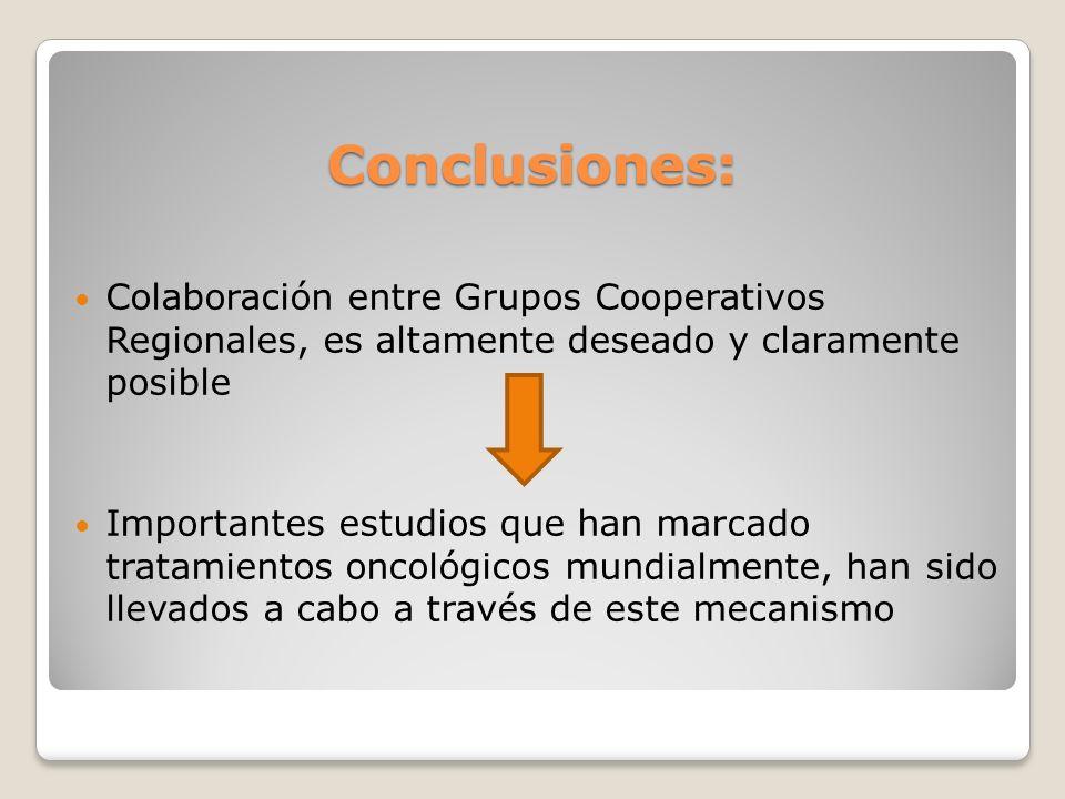 Conclusiones: Colaboración entre Grupos Cooperativos Regionales, es altamente deseado y claramente posible Importantes estudios que han marcado tratam