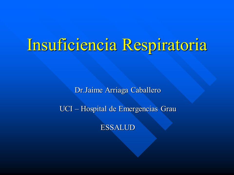 INSUFICIENCIA RESPIRATORIA Incapacidad del Pulmón para satisfacer las demandas metabólicas del organismo.
