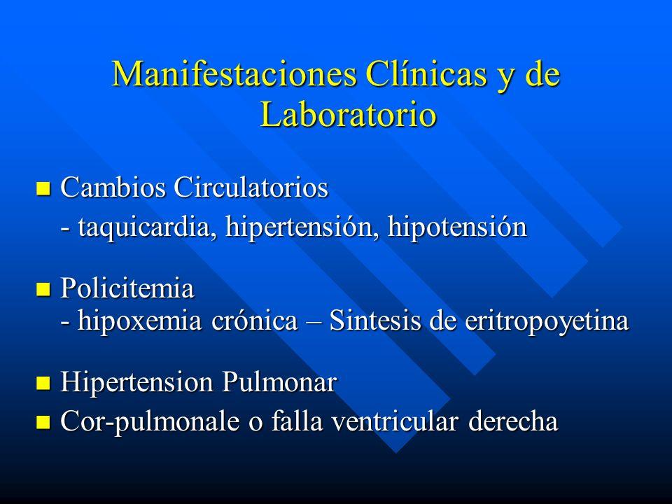 Manifestaciones Clínicas y de Laboratorio Cambios Circulatorios Cambios Circulatorios - taquicardia, hipertensión, hipotensión - taquicardia, hiperten