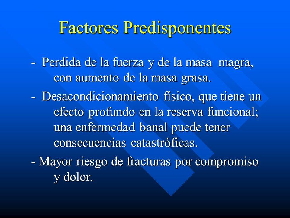 Factores Predisponentes - Perdida de la fuerza y de la masa magra, con aumento de la masa grasa. - Perdida de la fuerza y de la masa magra, con aument