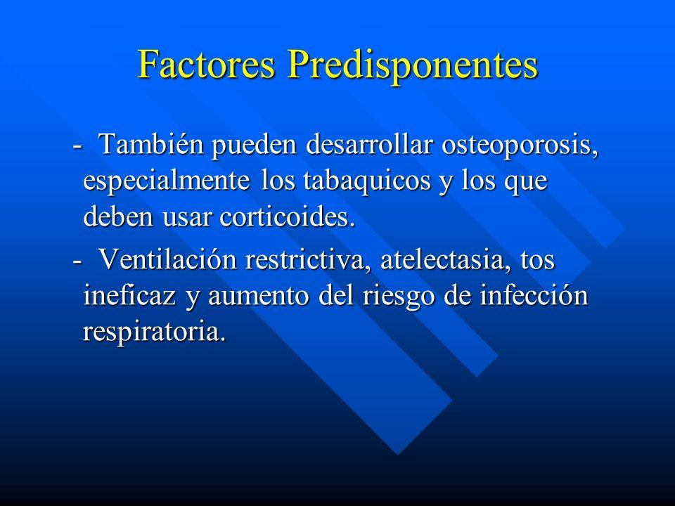 Factores Predisponentes - También pueden desarrollar osteoporosis, especialmente los tabaquicos y los que deben usar corticoides. - También pueden des