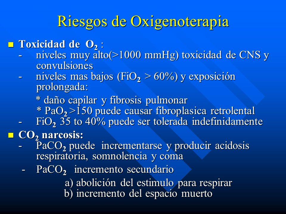 Riesgos de Oxigenoterapia Toxicidad de O 2 : - niveles muy alto(>1000 mmHg) toxicidad de CNS y convulsiones - niveles mas bajos (FiO 2 > 60%) y exposi