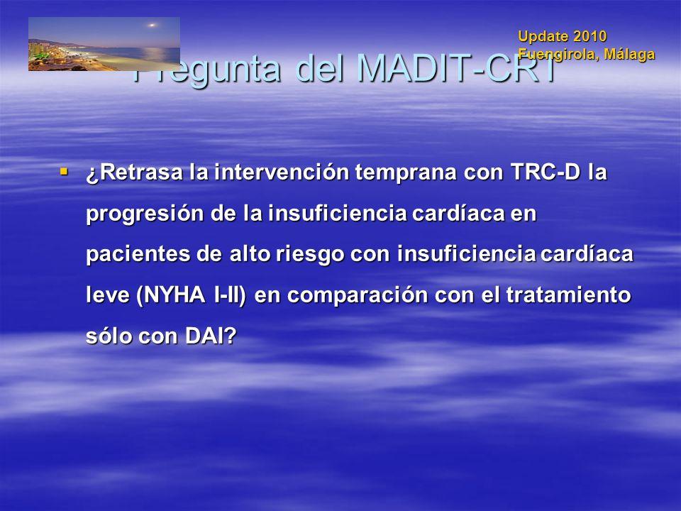 Pregunta del MADIT-CRT ¿Retrasa la intervención temprana con TRC-D la progresión de la insuficiencia cardíaca en pacientes de alto riesgo con insufici