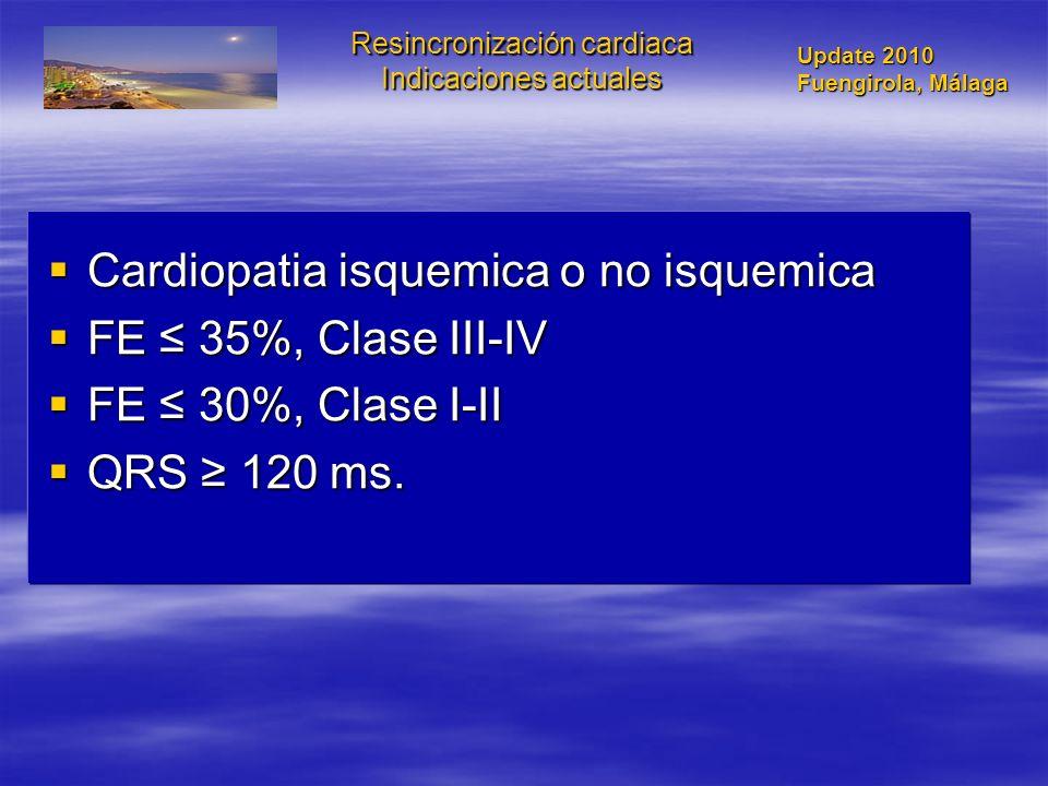 Resincronización cardiaca Indicaciones actuales Cardiopatia isquemica o no isquemica Cardiopatia isquemica o no isquemica FE 35%, Clase III-IV FE 35%,