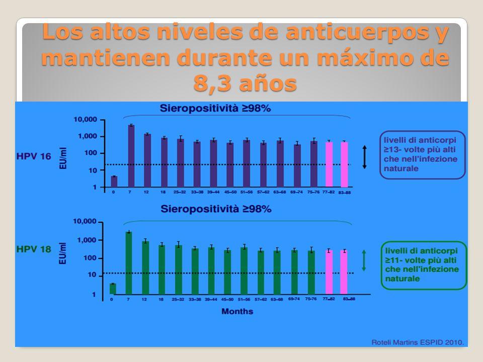 Los altos niveles de anticuerpos y mantienen durante un máximo de 8,3 años