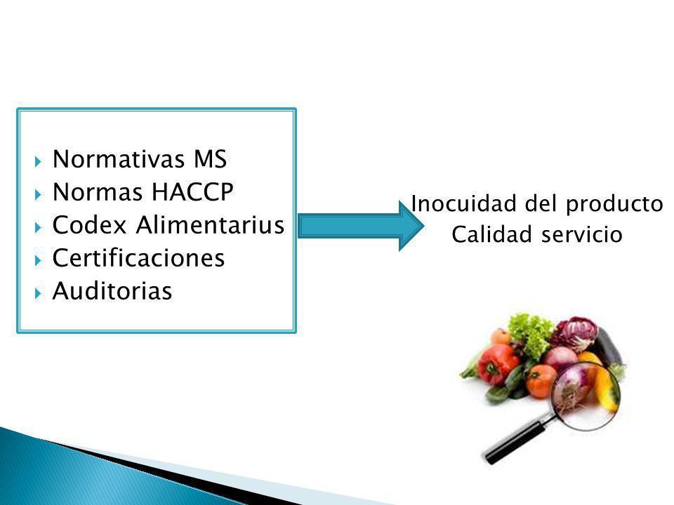 Normativas MS Normas HACCP Codex Alimentarius Certificaciones Auditorias Inocuidad del producto Calidad servicio