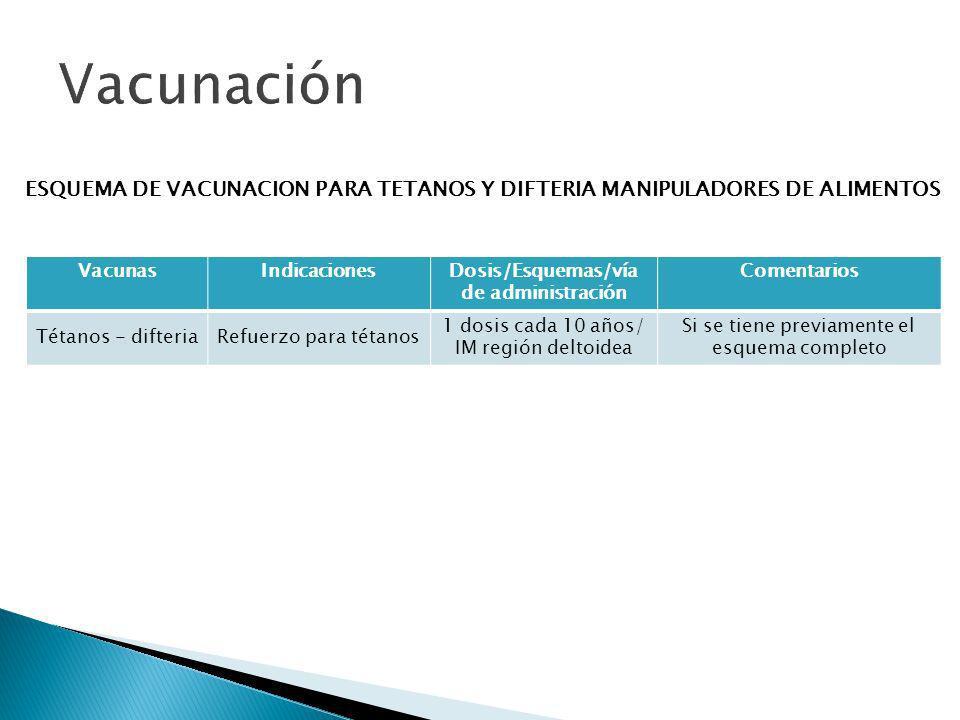 ESQUEMA DE VACUNACION PARA TETANOS Y DIFTERIA MANIPULADORES DE ALIMENTOS VacunasIndicacionesDosis/Esquemas/vía de administración Comentarios Tétanos -