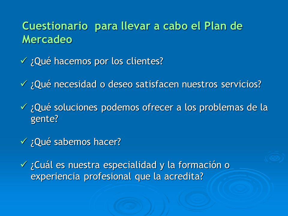 ¿Qué hacemos por los clientes? ¿Qué hacemos por los clientes? ¿Qué necesidad o deseo satisfacen nuestros servicios? ¿Qué necesidad o deseo satisfacen
