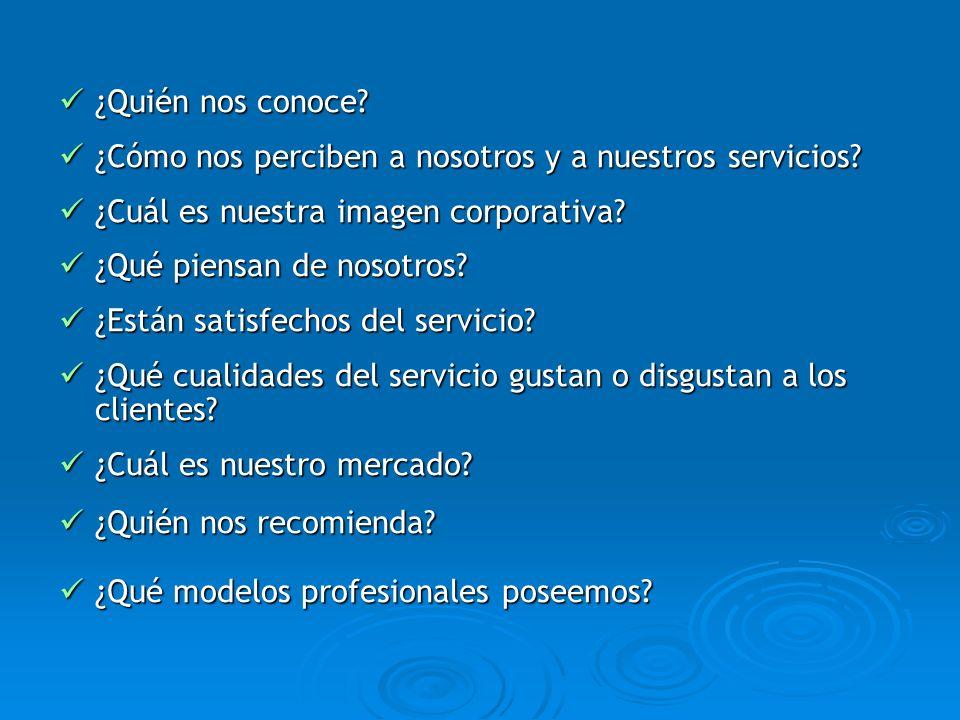 ¿Quién nos conoce? ¿Quién nos conoce? ¿Cómo nos perciben a nosotros y a nuestros servicios? ¿Cómo nos perciben a nosotros y a nuestros servicios? ¿Cuá
