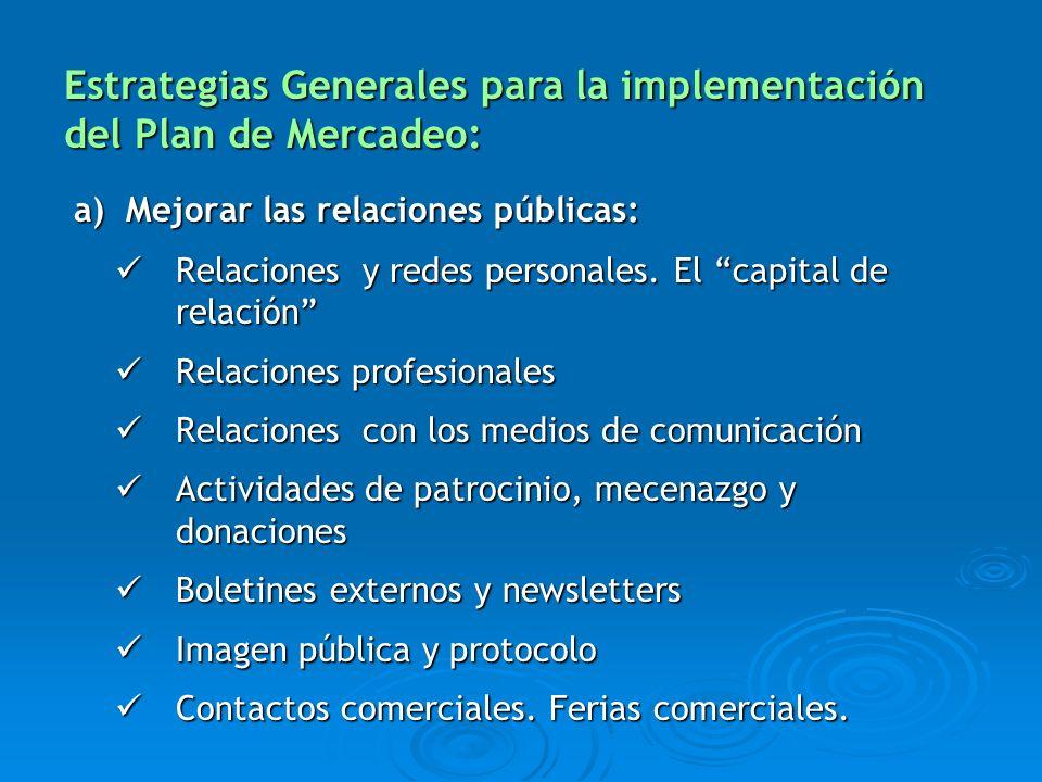 a) Mejorar las relaciones públicas: a) Mejorar las relaciones públicas: Relaciones y redes personales. El capital de relación Relaciones y redes perso
