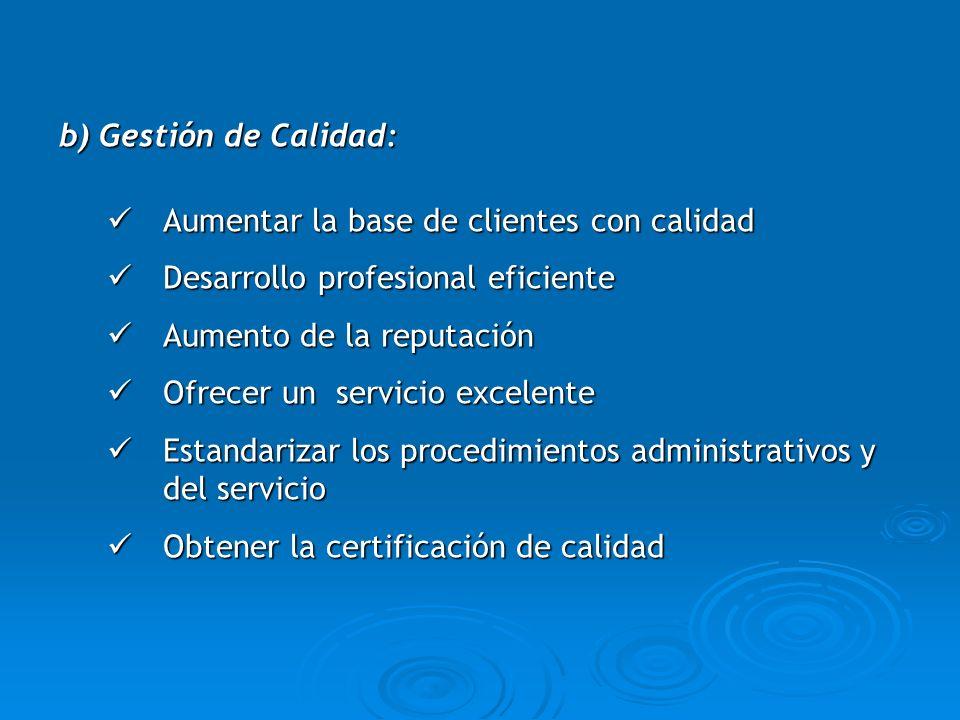 b) Gestión de Calidad: Aumentar la base de clientes con calidad Aumentar la base de clientes con calidad Desarrollo profesional eficiente Desarrollo p