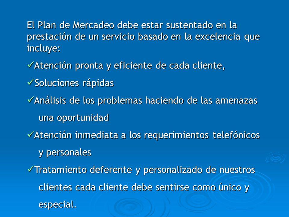 El Plan de Mercadeo debe estar sustentado en la prestación de un servicio basado en la excelencia que incluye: Atención pronta y eficiente de cada cli