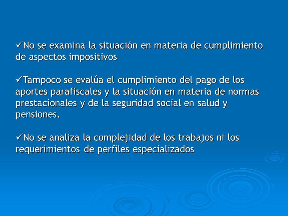 No se examina la situación en materia de cumplimiento de aspectos impositivos No se examina la situación en materia de cumplimiento de aspectos imposi