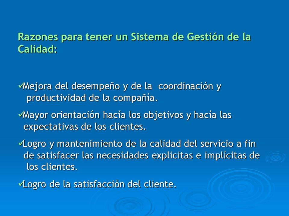 Razones para tener un Sistema de Gestión de la Calidad: Mejora del desempeño y de la coordinación y Mejora del desempeño y de la coordinación y produc