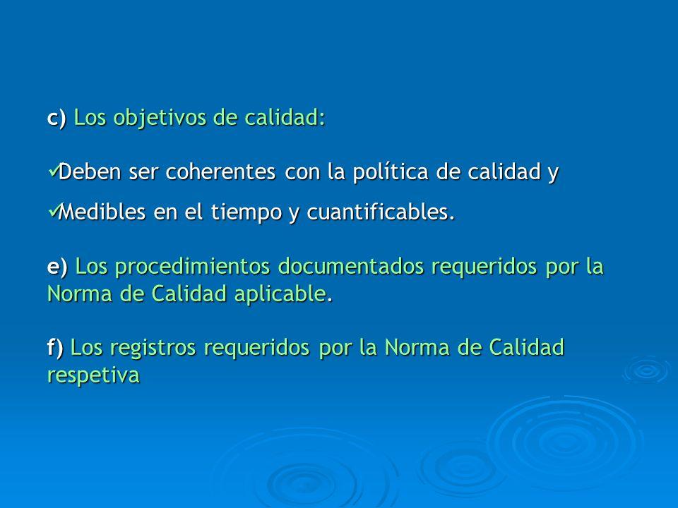 c) Los objetivos de calidad: Deben ser coherentes con la política de calidad y Deben ser coherentes con la política de calidad y Medibles en el tiempo