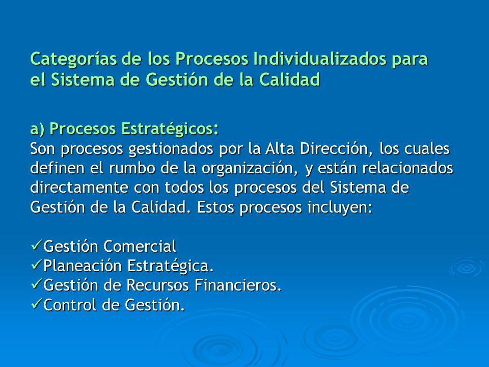 a) Procesos Estratégicos : Son procesos gestionados por la Alta Dirección, los cuales definen el rumbo de la organización, y están relacionados direct