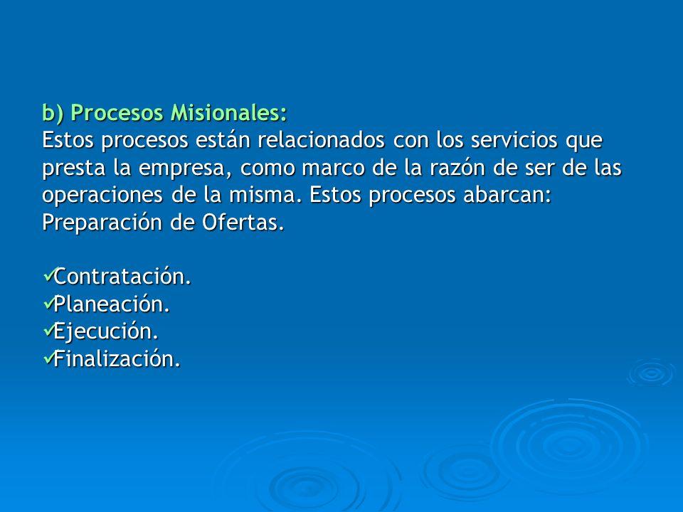 b) Procesos Misionales: Estos procesos están relacionados con los servicios que presta la empresa, como marco de la razón de ser de las operaciones de
