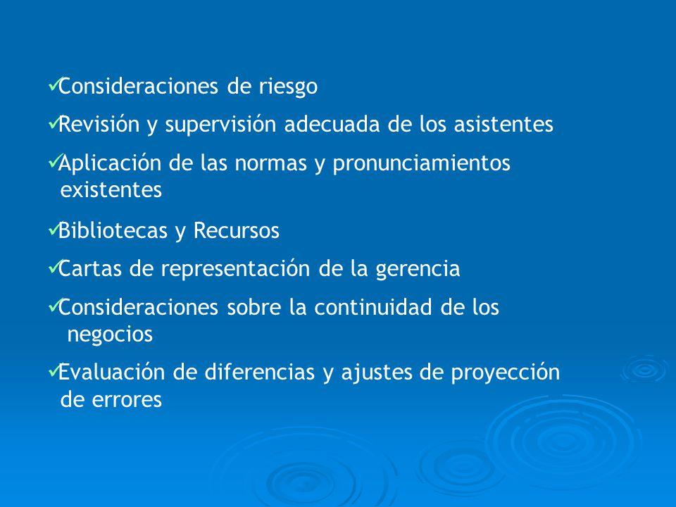 Consideraciones de riesgo Revisión y supervisión adecuada de los asistentes Aplicación de las normas y pronunciamientos existentes Bibliotecas y Recur