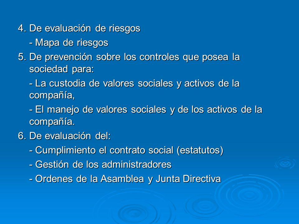 4. De evaluación de riesgos - Mapa de riesgos 5.De prevención sobre los controles que posea la sociedad para: - La custodia de valores sociales y acti