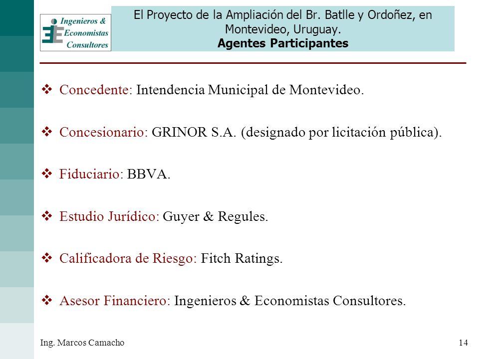14Ing. Marcos Camacho El Proyecto de la Ampliación del Br. Batlle y Ordoñez, en Montevideo, Uruguay. Agentes Participantes Concedente: Intendencia Mun