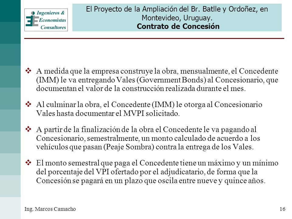 16Ing. Marcos Camacho El Proyecto de la Ampliación del Br. Batlle y Ordoñez, en Montevideo, Uruguay. Contrato de Concesión A medida que la empresa con