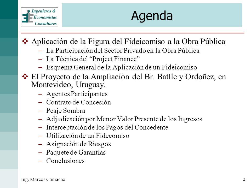 2Ing. Marcos Camacho Agenda Aplicación de la Figura del Fideicomiso a la Obra Pública – La Participación del Sector Privado en la Obra Pública – La Té