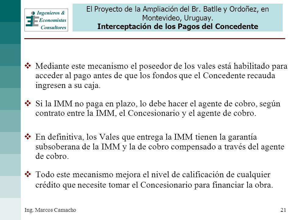 21Ing. Marcos Camacho El Proyecto de la Ampliación del Br. Batlle y Ordoñez, en Montevideo, Uruguay. Interceptación de los Pagos del Concedente Median