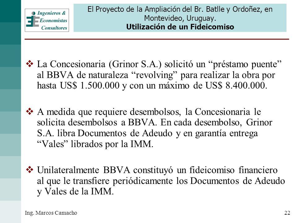 22Ing. Marcos Camacho El Proyecto de la Ampliación del Br. Batlle y Ordoñez, en Montevideo, Uruguay. Utilización de un Fideicomiso La Concesionaria (G
