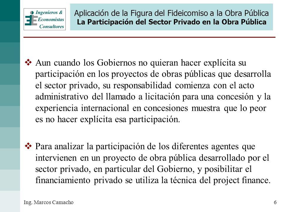 6Ing. Marcos Camacho Aplicación de la Figura del Fideicomiso a la Obra Pública La Participación del Sector Privado en la Obra Pública Aun cuando los G