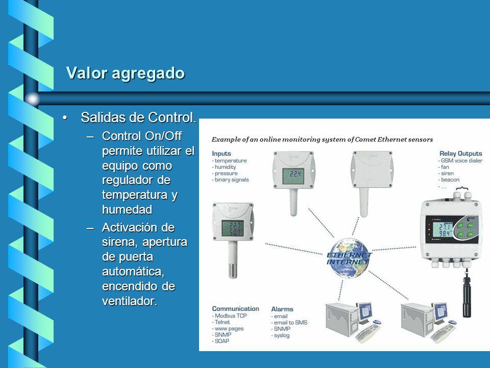 Valor agregado Salidas de Control.Salidas de Control. –Control On/Off permite utilizar el equipo como regulador de temperatura y humedad –Activación d